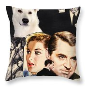 White German Shepherd Art Canvas Print - Suspicion Movie Poster Throw Pillow