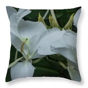 White Ginger Lily Throw Pillow
