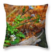 White Green Gold Throw Pillow