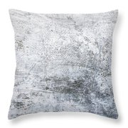White Grungy Cement Wall Throw Pillow