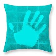 White Hand Aquamarine Throw Pillow