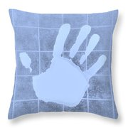 White Hand Cyan Throw Pillow