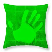 White Hand Green Throw Pillow