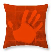 White Hand Orange Throw Pillow
