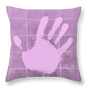 White Hand Pink Throw Pillow