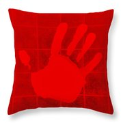 White Hand Red Throw Pillow