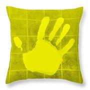 White Hand Yellow Throw Pillow