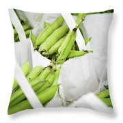 White Handled Bags Containing Fresh Throw Pillow