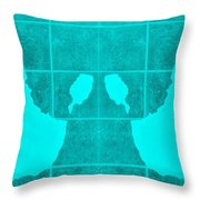 White Hands Aquamarine Throw Pillow