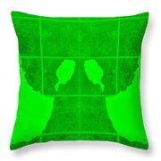White Hands Green Throw Pillow