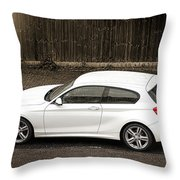 White Hatchback Car Throw Pillow
