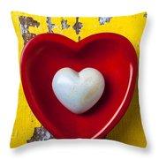 White Heart Red Heart Throw Pillow