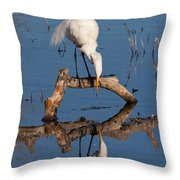 White Heron In The Looking Glass Throw Pillow