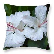White Hibiscus Trio Waikiki Throw Pillow
