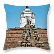 White Hindu Temple In Bhaktapur Durbar Square In Bhaktapur-nepal  Throw Pillow