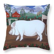 White Hog And Roses Throw Pillow