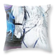 White Horse Abstract Throw Pillow