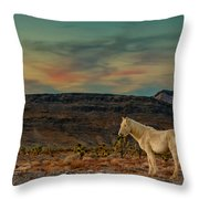 White Horse At Sunset Throw Pillow