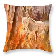 White Horse In The Camargue 01 Throw Pillow