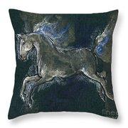 White Horse Minature Painting Throw Pillow