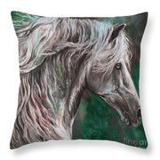 White Horse Painting Throw Pillow