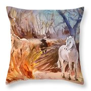 White Horses And Bull In The Camargue Throw Pillow