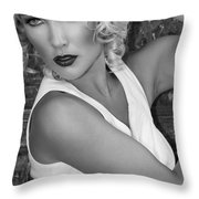 White Hot Bw Palm Springs Throw Pillow