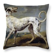 White Hound Throw Pillow