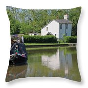 White House And House Boat Throw Pillow