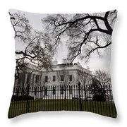 White House On A Cloudy Winter Day Throw Pillow