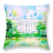 White House - Watercolor Portrait Throw Pillow