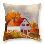 White House With Red Shutters Throw Pillow