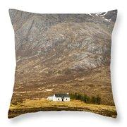 White Hut Under Stob Dearg Throw Pillow