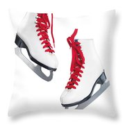 White Ice Skates With Red Laces Throw Pillow by Oleksiy Maksymenko