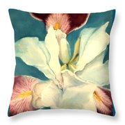 White Iris Throw Pillow