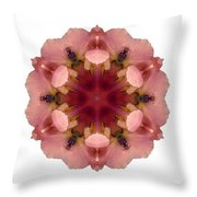 Iris Germanica I Flower Mandala White Throw Pillow