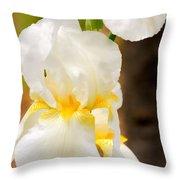 White Iris Throw Pillow