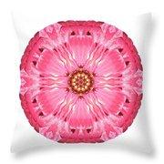 Light Red Zinnia Elegans V Flower Mandala White Throw Pillow