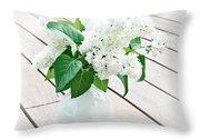 White Lilac Throw Pillow