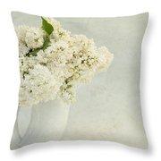 White Lilac In A Cream Jug Throw Pillow
