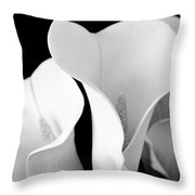 White Lily Trio In Black And White Throw Pillow
