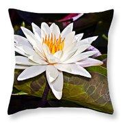 White Lotus Flower Throw Pillow