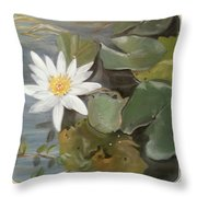 White Lotus Throw Pillow