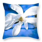 White Magnolia Blossom Throw Pillow