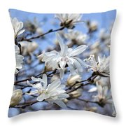 White Magnolia Magnificence Throw Pillow