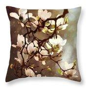White Magnolias Throw Pillow