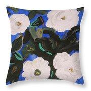 White Magnolias On Deep Blue Throw Pillow