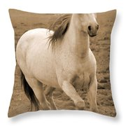 White Mare Approaches Number One Close Up Sepia Throw Pillow