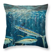 White Marlin Original Oil Painting 24x36in On Canvas Throw Pillow by Manuel Lopez