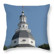 White Maryland State House Cupola Against Blue - Annapolis Throw Pillow